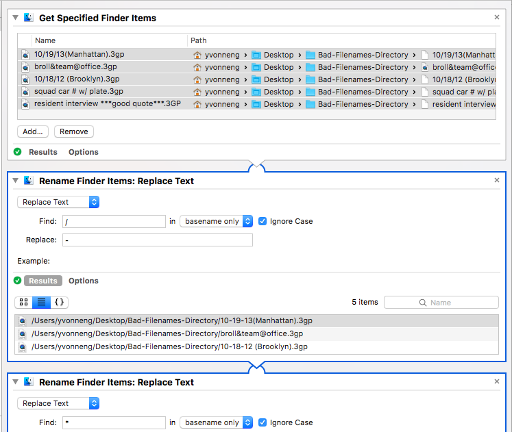 Screenshot of Mac Automator workflow for cleaning filenames